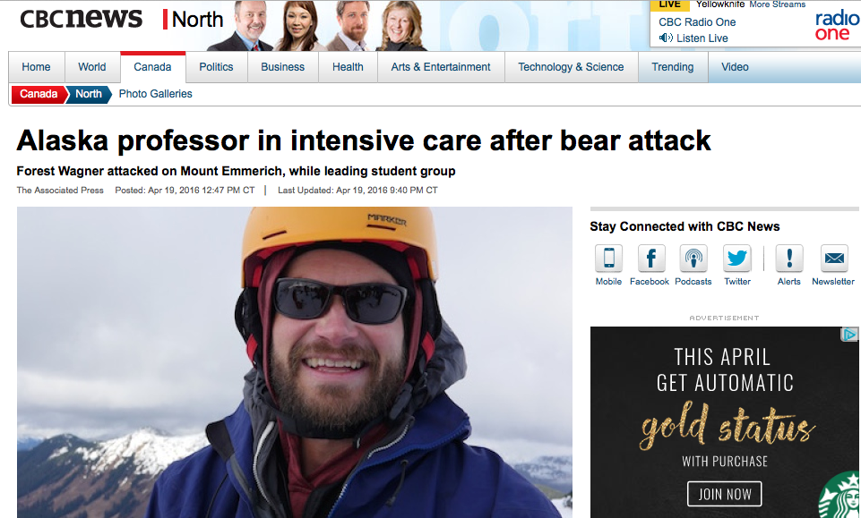 Alaska professor in critical condition after bear attack