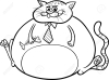 39829525-fat-cat-cartoon-black-and-white-26266542-black-and-white-cartoon-humor-concept-illustration-of-fat-cat-saying-or-proverb-for-coloring-book-stock-vector